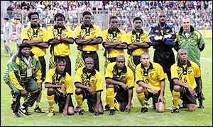 The Jamaican team line up at France 98