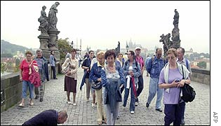 Tourist on the Charles Bridge
