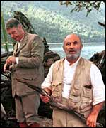 Bob Hoskins as Prof Challenger (front) in The Lost World