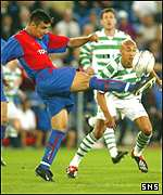 Henrik Larsson finds his passage blocked