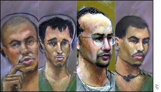 Court sketches of the four in custody