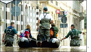 Flooded street in Pirna, Germany