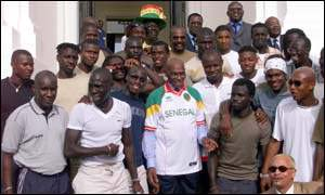President Wade and Senegal's football team