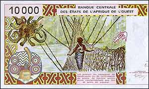 10 000 CFA bank note