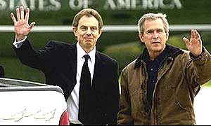 Prime Minister Tony Blair and President George Bush