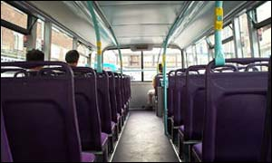 Interior of Leicestershire bus