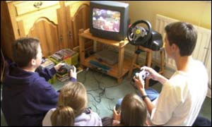 Children playing computer game, BBC