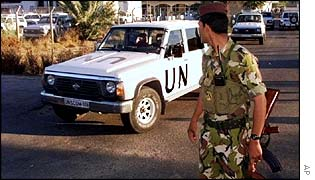 A UN weapons inspection van