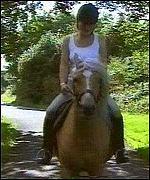 Josie Russell on horseback in Nantlle, north Wales