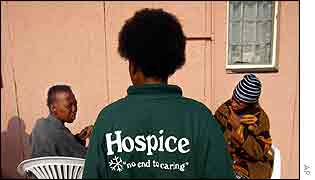 Staff and patients at another hospice in Rustenburg