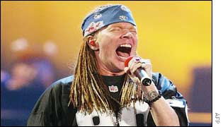 Axl Rose of Guns'n'Roses entertained