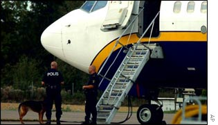 Swedish police stand beside Ryanair aircraft flight FR685 at Vaesteraas airport