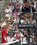 LLeyton Hewitt argues with umpire Andres Egli during his match with Blake