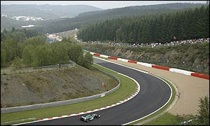 Jaguar's Pedro de la Rosa tackles the curves of Spa's mountain-set circuit
