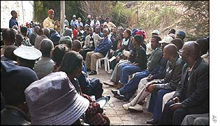 Landless people meet at a camp near the summit
