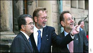 EC President Romano Prodi, host Danish Foreign Minister Per Stig Moller and Javier Solana, EU foreign policy chief