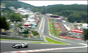 Flying Finn Kimi Raikkonen speeds through Eau Rouge and makes his intentions clear with the quickest lap