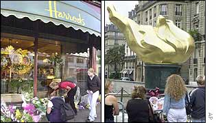 Harrods (left) and the Flame of Liberty monument in Paris