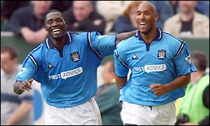 Nicolas Anelka scores his first hat-trick for Manchester City