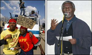 Protesters(l) and Thabo Mbeki speaking at a pro-government rally(r) ( photos courtesy of AP)