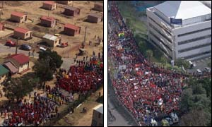 Alexandra township (r) and the summit convention centre in Sandton (photographs courtesy of AP)