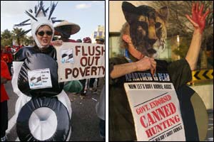 An anti-poverty protester(l) and an animal rights protester(r) ( photos courtesy of AFP)