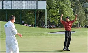 Tiger Woods celebrates his 2002 Masters win at Augusta National