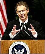 Tony Blair on a visit to the US