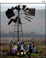 Broken wind generator in Zevenfontein, South Africa