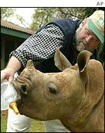 Fred O'Regan bottle-feeds a four-month-old White Rhinoceros