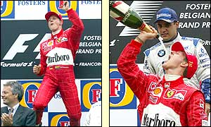 Schumacher celebrates his 10th win of the season in Spa, a tally which sets a new record for wins in a season