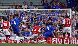 Gianfranco Zola scores for Chelsea against Arsenal
