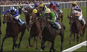 Jamie Spencer on Kyllachy (green jacket) won the Nunthorpe Stakes at York