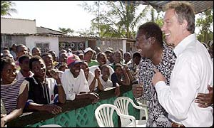 Tony Blair in Dondo village, Mozambique