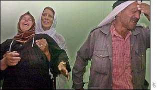 Grieving relatives of dead Palestinians