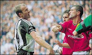 Roy Keane was sent-off for the ninth time against Newcastle after punching Alan Shearer