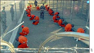 Prisoners shortly after their arrival at Guantanamo