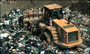 Digger at a landfill site