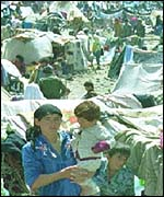 Iraqi refugees in camp set up by Turkey during Gulf War