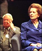 Edward Heath and Margaret Thatcher at the 1998 conference