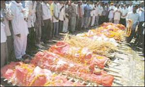 Mass-funeral for Gujarat riot victims