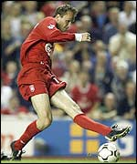 Dietmar Hamann scores for Liverpool