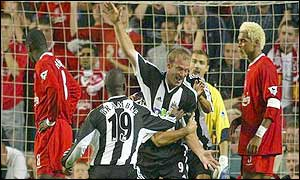 Alan Shearer scored Newcastle's equaliser at Anfield