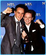 Ant and Dec winning the Most Popular Entertainment Presenters award at The National Television Awards 2001