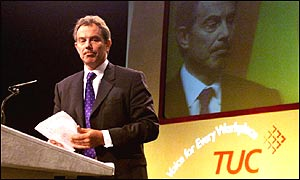 Prime Minister Tony Blair at last year's TUC conference