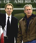 Prime Minister Tony Blair in US with President George Bush