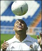 Ronaldo con el uniforme del Real Madrid