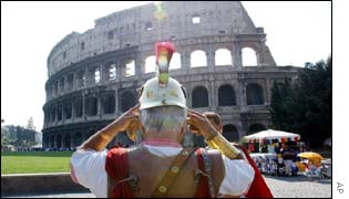 Gladiator in front of the Colosseum