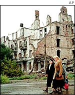 Shelled buildings in Grozny