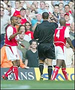 Arsenal'sPatrick Vieira is sent off against Chelsea